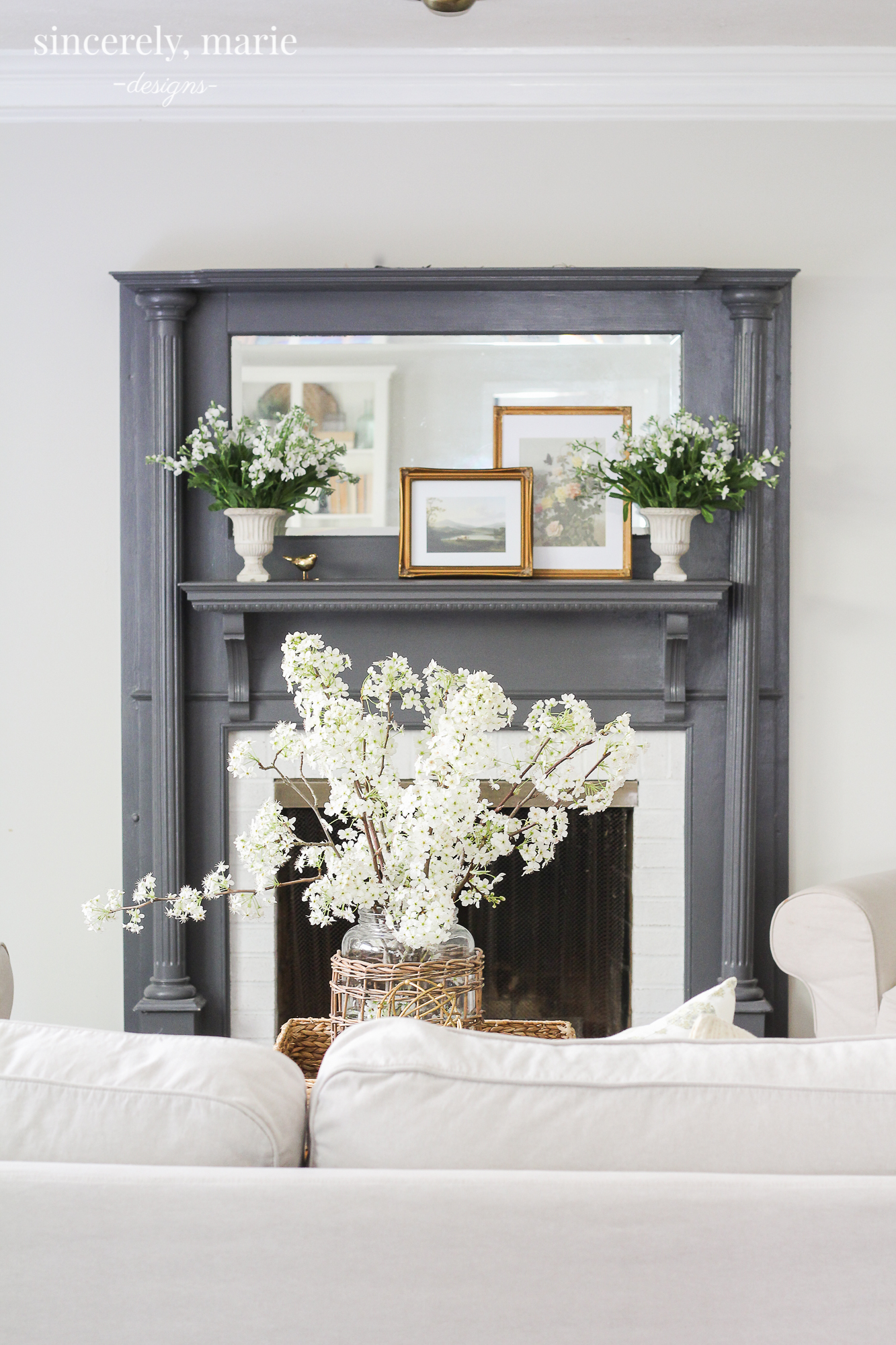 Simple & Classic Spring Mantel - Sincerely, Marie Designs
