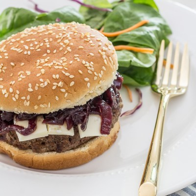 Burgers with Brie & Onion Jam