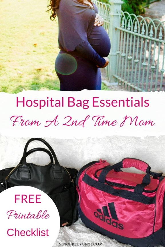 Hospital Bag Essentials from a 2nd time mom. Free Printable checklist inside #delivery #hospitalbag #pregnancy