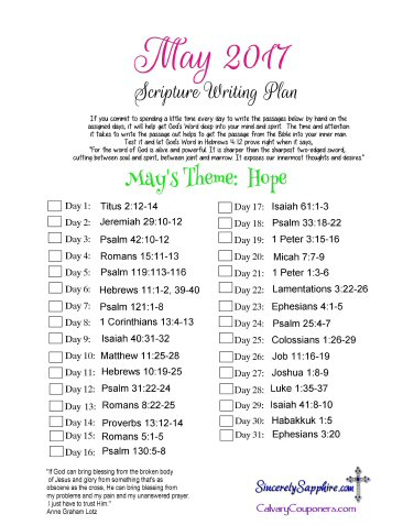 May 2017 Scripture Writing Plan