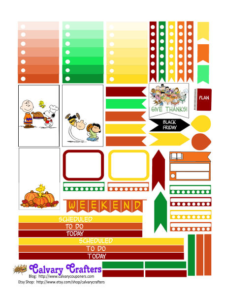Peanuts Thanksgiving Planner Stickers FREEBIE FRIDAY