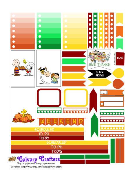 Peanuts Thanksgiving Planner Stickers FREEBIE FRIDAY