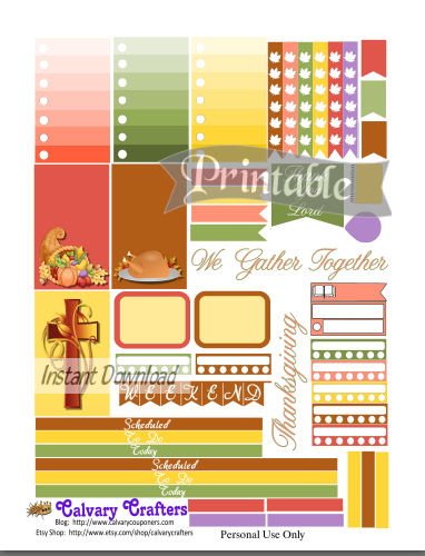 Freebie Friday – Printable Planner Stickers Thanksgiving 2017 1