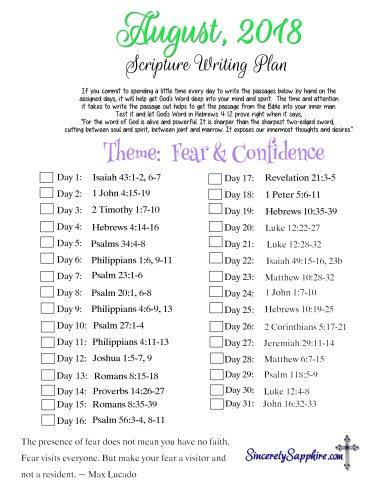 Scripture Writing Plan for August 2018