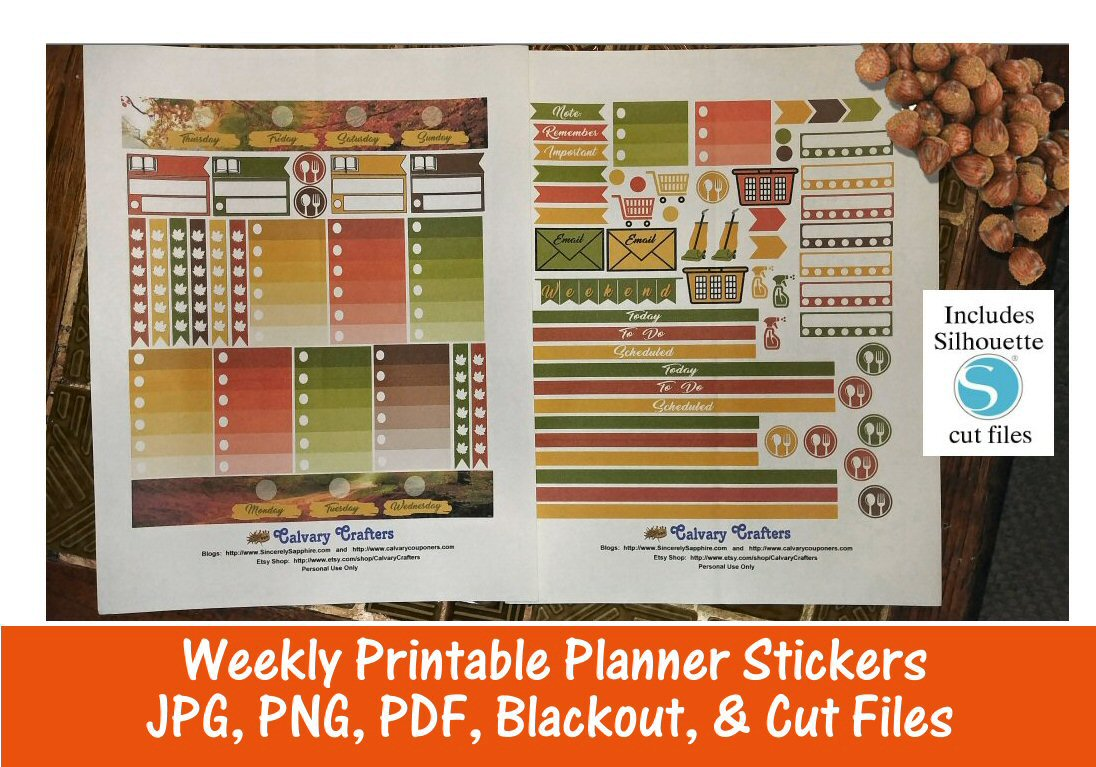 Autumn Road Printable Planner Stickers and Individual Files for Digital Planners