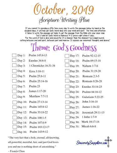 October 2019 Scripture Writing Plan -God's Goodness