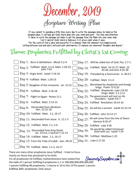 Click here for the pdf printable of December 2019's scripture writing plan