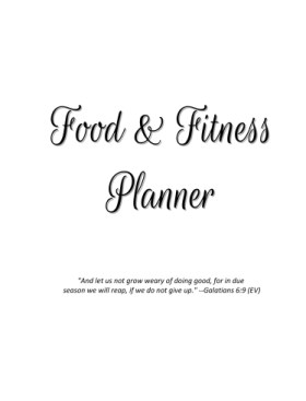 Food and Fitness Planner Black and White