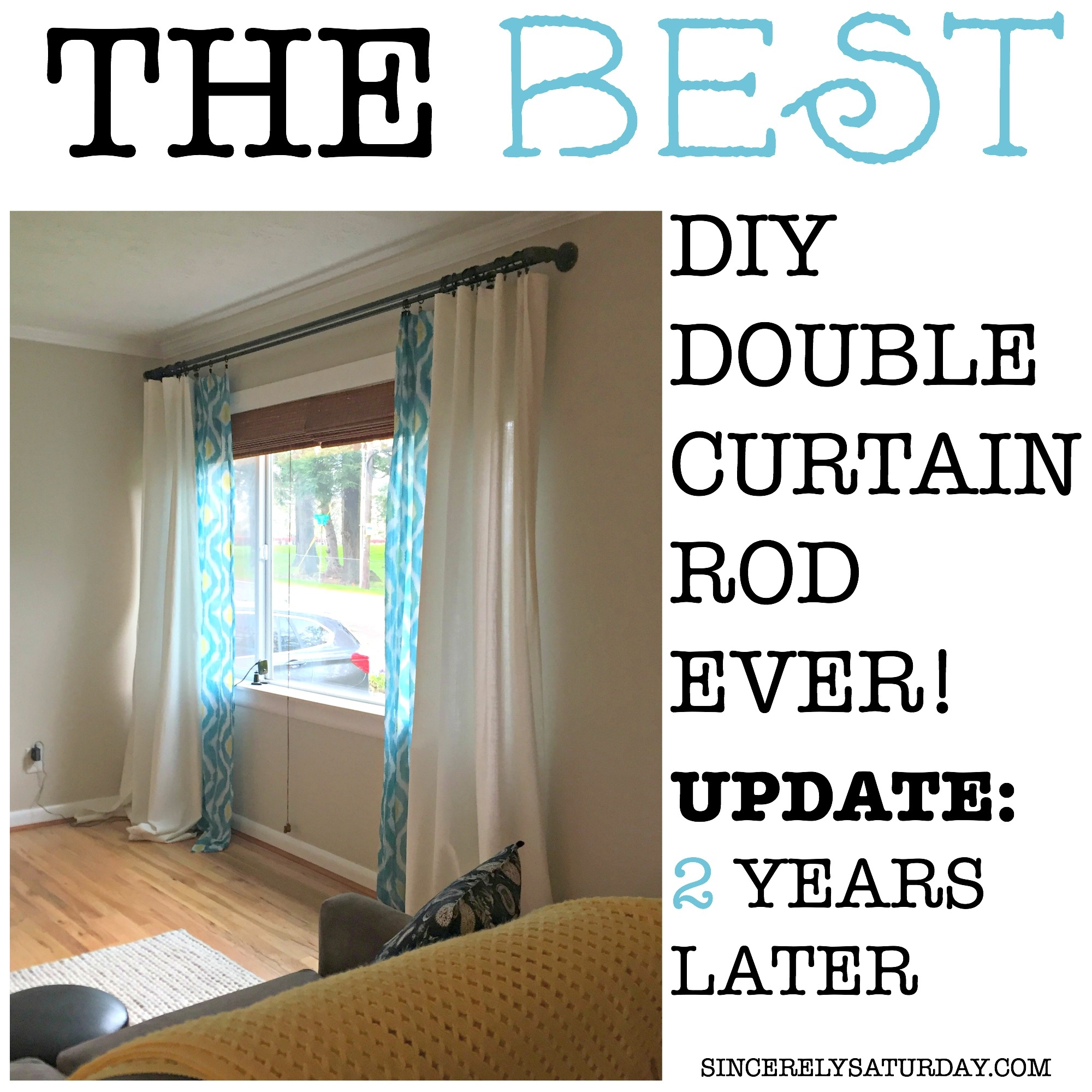 Diy industrial double conduit curtain rod sincerely saturday the best double curtain rod 2 years later solutioingenieria Images