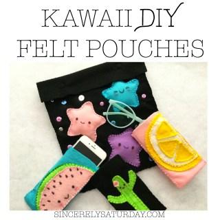Kawaii DIY felt pouches - cute, easy and fun