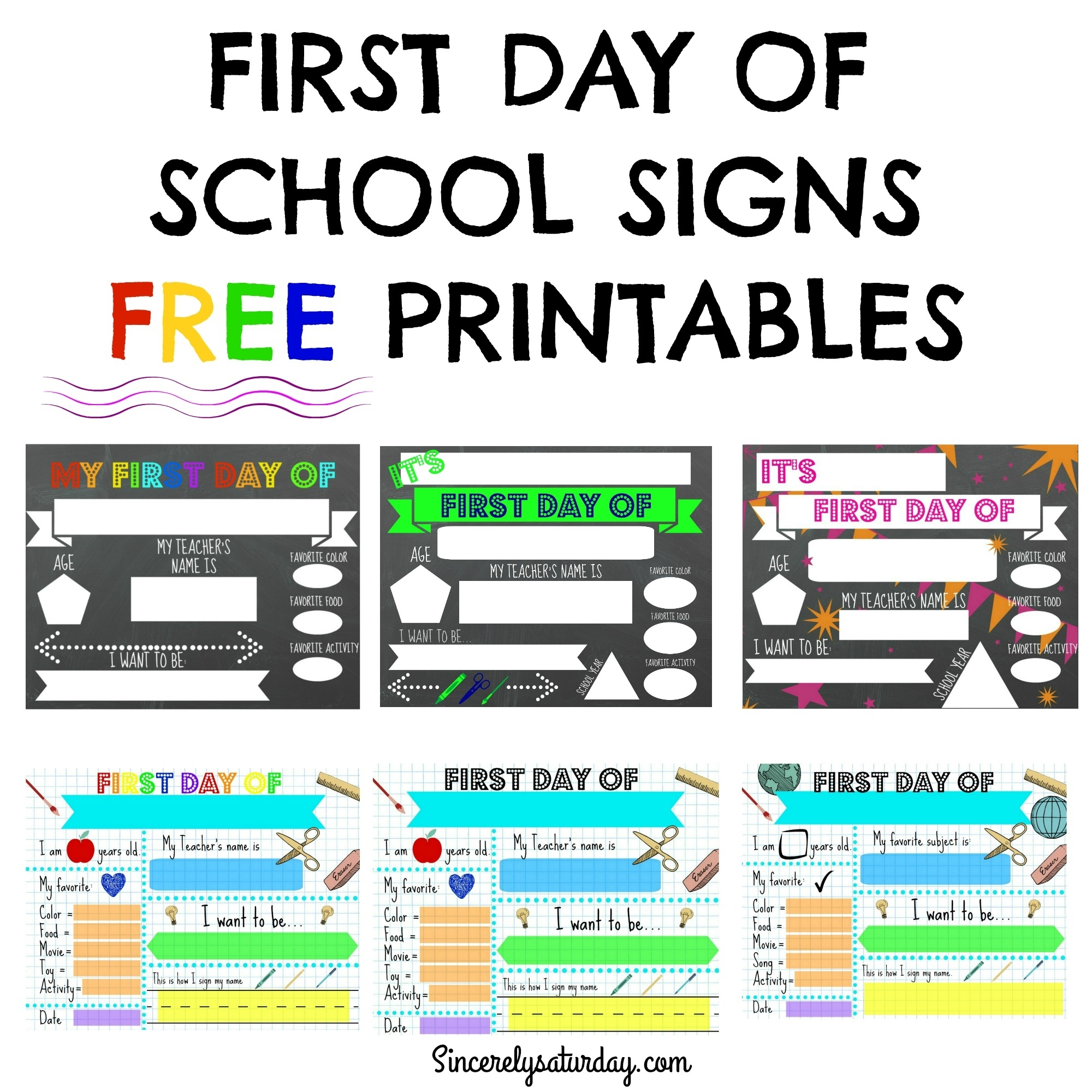 photograph about Printable First Day of School Signs identify No cost PRINTABLE 1st Working day OF Faculty Indicators Sincerely Saay