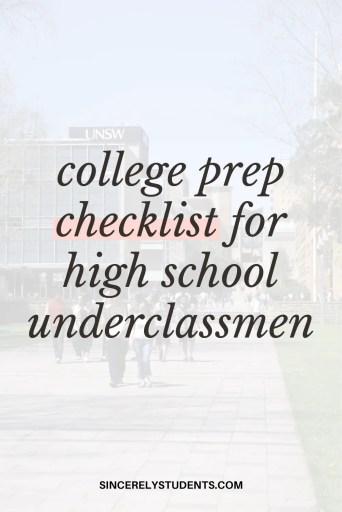 College prep checklist for high school underclassmen