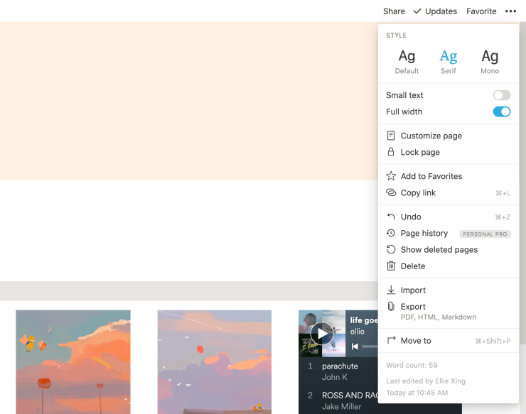 Notion has many customizable features!