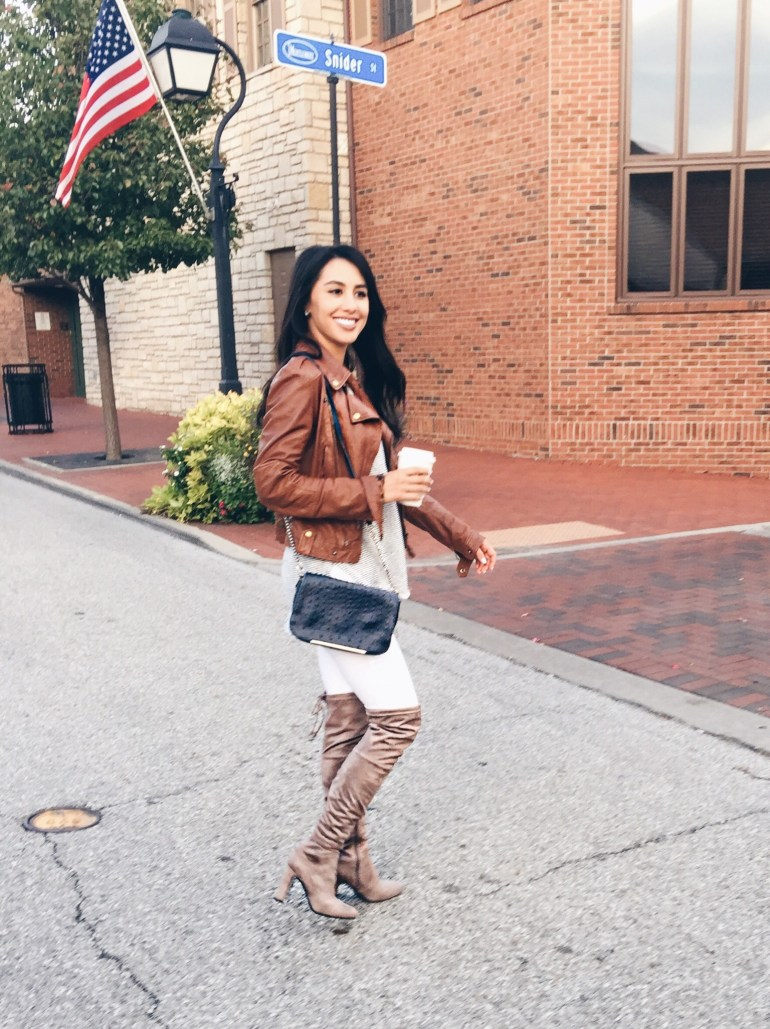 over-the-knee boot and moto jacket