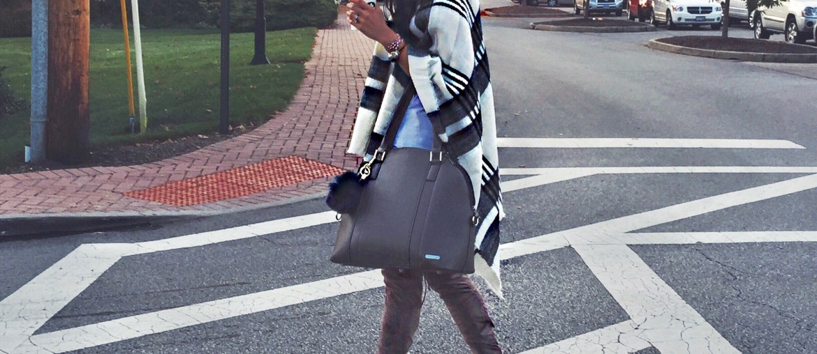 plaid poncho, over-the-knee boots