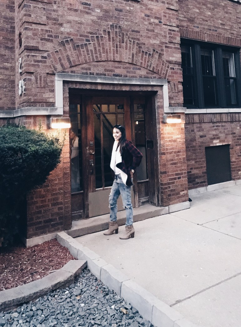 boyfriend jeans, plaid jacket, ankle boots