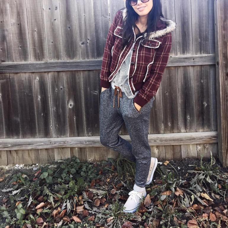 plaid, burgundy jacket, joggers, wardrobe essential neutral sneakers