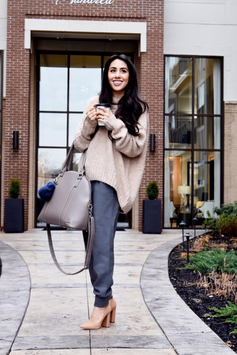 Oversized sweater in camel, gray jogger slacks, suede block heels in nude, taupe bag