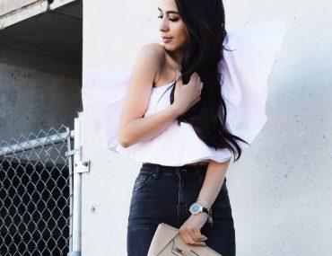 One Shoulder Ruffle Top Light Pink Blogger