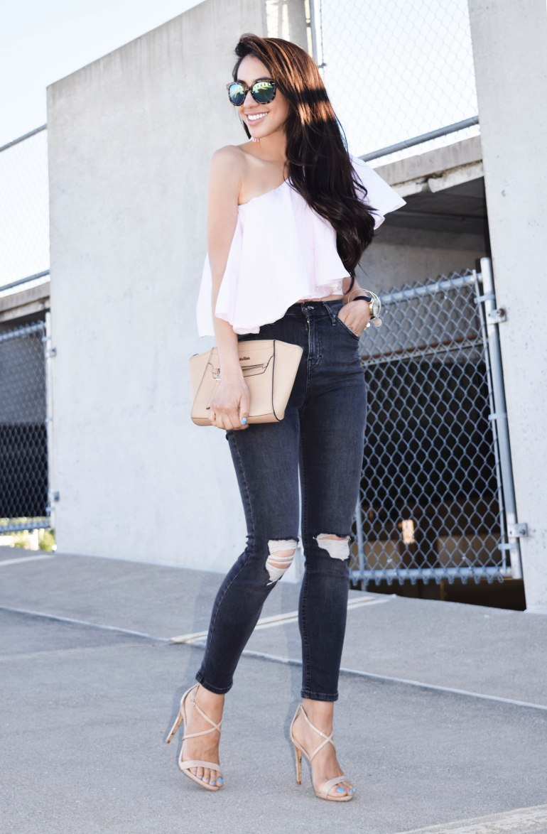 one-shoulder top, light pink, distressed denim, mirrored shades, blogger style