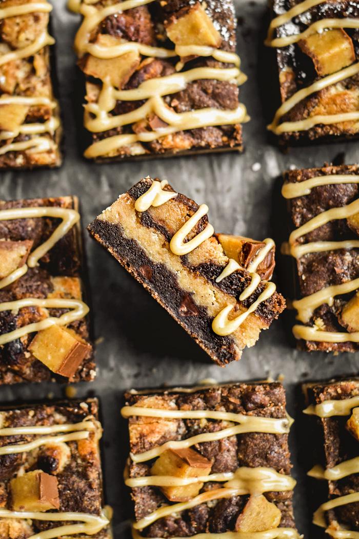 "Chocolate Peanut Butter Vegan ""Reeses"" Cookie Bars"