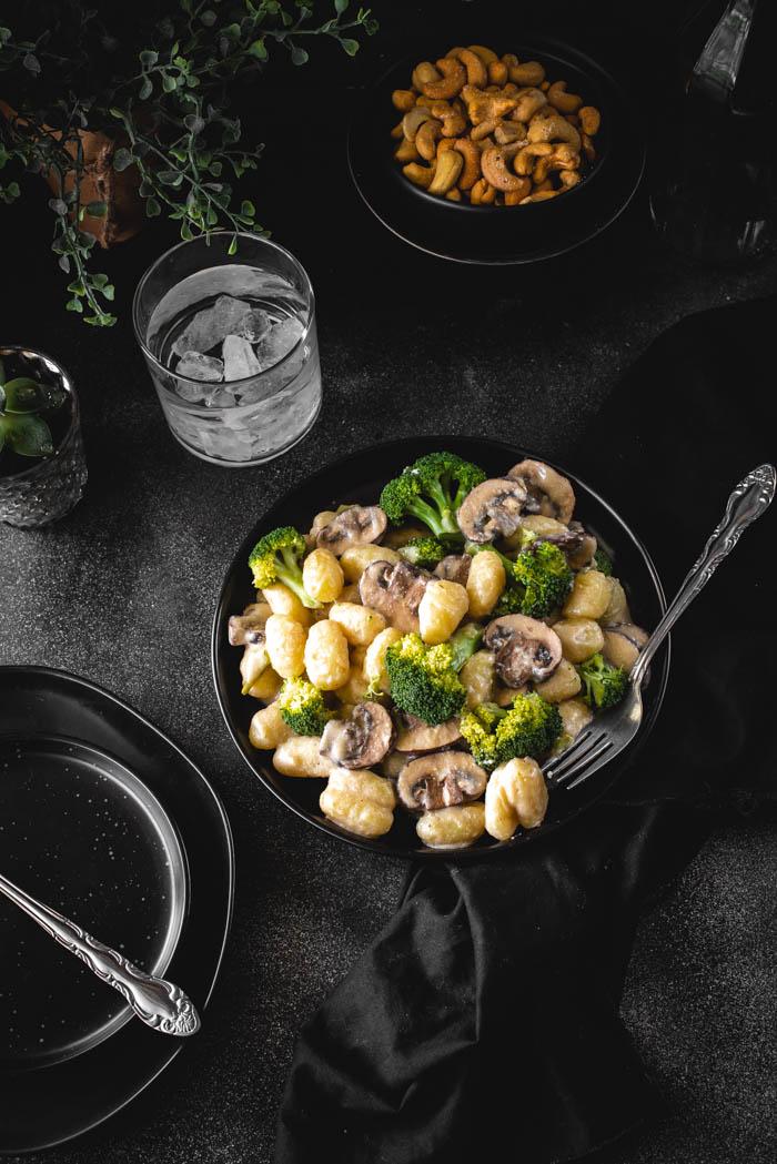 gnocchi wild mushrooms broccoli and breadcrumbs