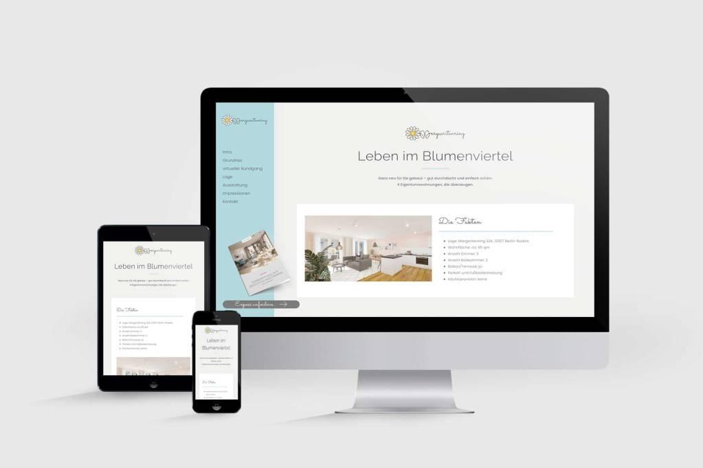 Landingpage für Neubauprojekt Margueritenring