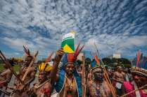 """About 1400 members of various indigenous Brazilian tribes set up camp outside of the National Congress in Brasilia to demand land rights. National Congress of """"The Free Land"""" campaigned to discuss issues of land demarcation and indigenous rights with the authorities. - Fabio Nascimento"""