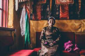 """I made some questions with my Mongolian translator before travelling alone. This way I was able to ask intriguing people about life, without speaking their language. She wrote me back and later I translated her own words. Her answer to my questions: / Can you share a brief example of you and your life? She wrote: """"In 1992 my mother Kandmaa restored this temple. This temple was build in the 17th century. One of the first yellow seat buddhist temples. It's my life mission to protect and look after this temple. In 1937, during the communist attack, I lost my grandfather who was a Lama. Today my son is the head lama of this temple. / How do you see the world in 50 years? She wrote: """"The population will grow extremely, nature will be more destroyed, our situation will be more intense."""" / What do you want to pass on? She wrote: """"I wish to my younger generation to become a right person, good behave and reach enlightenment. I am a buddhist, so I believe if you do good in this life, your next life will be better."""""""