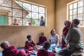 An occupational therapy session for the youngest children at the school. These young ones get therapy sessions twice a day before class starts in the morning and afternoon. Most of these children stay at school and only go home during vacation periods because either they live with a tribe far away or their parents have difficulties providing for them.