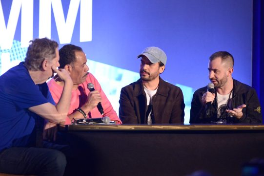 ANAHEIM, CALIFORNIA - JANUARY 17: Dave Pensado, Herb Trawick, Alex Tumay and Louis Bell speak onstage at The 2020 NAMM Show on January 17, 2020 in Anaheim, California. (Photo by Jerod Harris/Getty Images for NAMM)