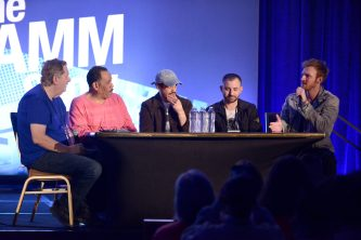 ANAHEIM, CALIFORNIA - JANUARY 17: Dave Pensado, Herb Trawick, Alex Tumay, Louis Bell and Finneas O'Connell speak onstage at The 2020 NAMM Show on January 17, 2020 in Anaheim, California. (Photo by Jerod Harris/Getty Images for NAMM)