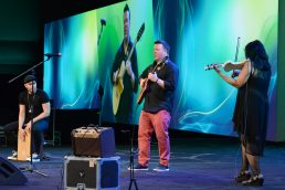 ANAHEIM, CALIFORNIA - JANUARY 18: Mike Sleath, Jeff Gunn and Koi Anunta perform onstage at The 2020 NAMM Show on January 18, 2020 in Anaheim, California. (Photo by Jerod Harris/Getty Images for NAMM)