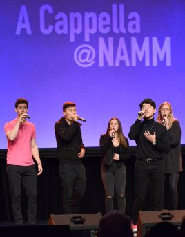 ANAHEIM, CALIFORNIA - JANUARY 18: UCLA Scattertones perform onstage at The 2020 NAMM Show on January 18, 2020 in Anaheim, California. (Photo by Jerod Harris/Getty Images for NAMM)