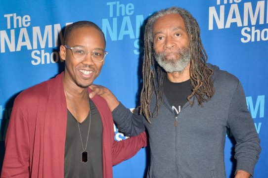 ANAHEIM, CALIFORNIA - JANUARY 18: Bobby McFerrin (R) attends The 2020 NAMM Show on January 18, 2020 in Anaheim, California. (Photo by Jerod Harris/Getty Images for NAMM)