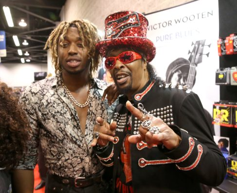 ANAHEIM, CALIFORNIA - JANUARY 18: Uche Ndubizu and Bootsy Collins attend The 2020 NAMM Show on January 18, 2020 in Anaheim, California. (Photo by Jesse Grant/Getty Images for NAMM)