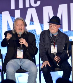 ANAHEIM, CALIFORNIA - JANUARY 18: Frank Pirruccello and Mr. Bonzai speak onstage at The 2020 NAMM Show on January 18, 2020 in Anaheim, California. (Photo by Jerod Harris/Getty Images for NAMM)