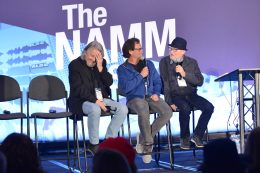 ANAHEIM, CALIFORNIA - JANUARY 18: Frank Pirruccello (L) and Mr. Bonzai (R) speak onstage at The 2020 NAMM Show on January 18, 2020 in Anaheim, California. (Photo by Jerod Harris/Getty Images for NAMM)