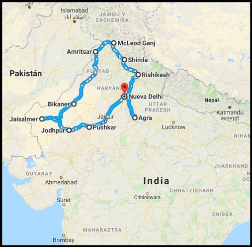 Ruta Norte India Mapa - Ruta por el norte de la India de 3 semanas o 1 mes