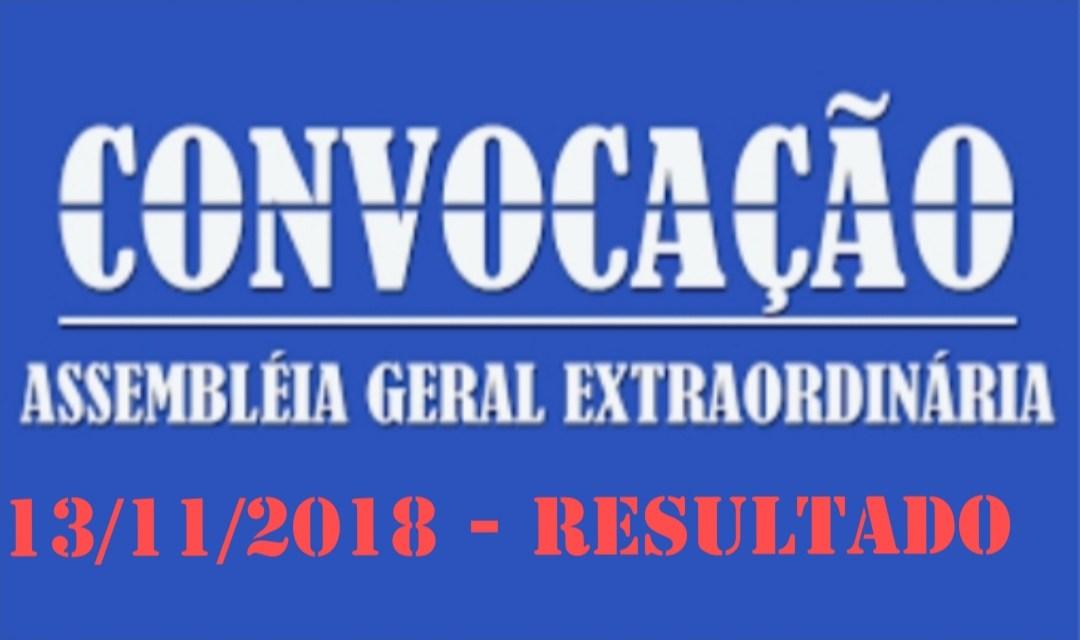 Resultado da Assembleia geral extraordinária do dia 13/11/2018