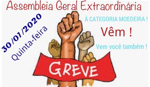EDITAL DE CONVOCAÇÃO  ASSEMBLEIA GERAL EXTRAORDINÁRIA, DIA 30/01/2020 -QUINTA-FEIRA