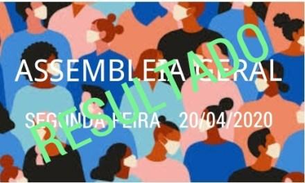 RESULTADO DA ASSEMBLEIA GERAL EXTRAORDINÁRIA REALIZADA NO DIA 20/04/2020