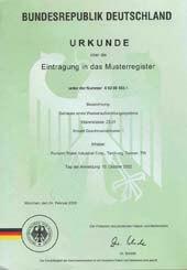 احدى شهادات برائات الابتكار لحلول المياه لمنتجات فلتر ماء بيوركم المسجله بالمانيا