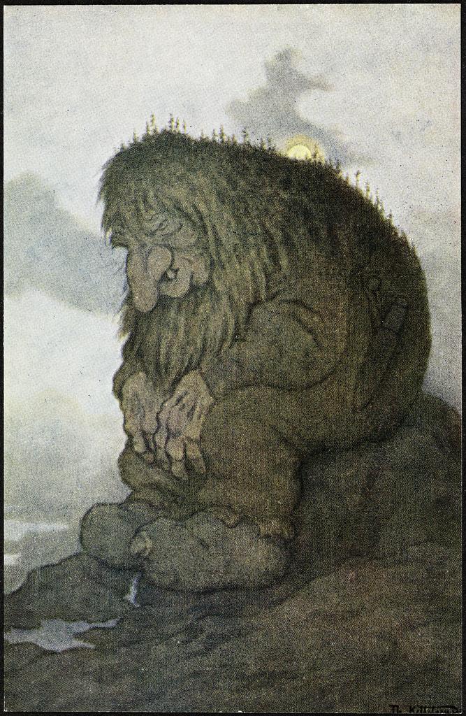 1911 trollet-som-satt-og-grunnet-pacc8a-hvor-gammelt-det-er Theodor Kittelsen