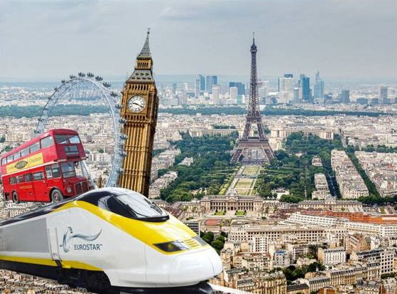 Eurostar--train-skyline-London-Paris-bus-landmark-Eiffel-Tower-Big-Ben