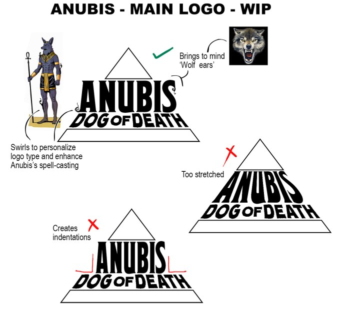 anubis dog of death logo shapes wip