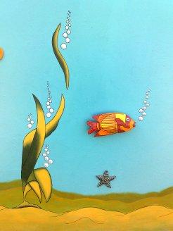 Wandmalerei Holzfisch