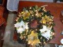 grosser weihnachtlicher Kranz mit Beleuchtung in Orange Weiss 65cm Ø