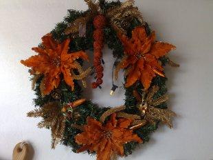 weihnachtlicher Kranz mit Beleuchtung in Orange 55cm Ø