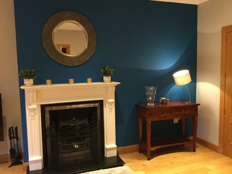 Fireplace makeover, blue littlegreene wall colour, gallery mirror